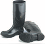 Rubber BlackBoots - Black Plain-Toe Knee High Cement Boots BLACKBOOT