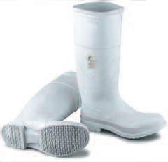 Rubber WhiteBoots - Plain-Toe Knee High Cement Boots WHITEBOOT