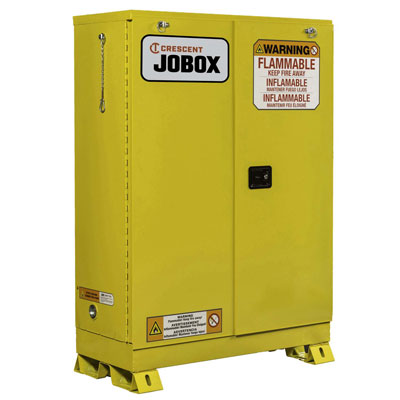 JOBOX 1-754640 30 Gallon Flammable Self Closing Safety Cabinet - Yellow 1-754640