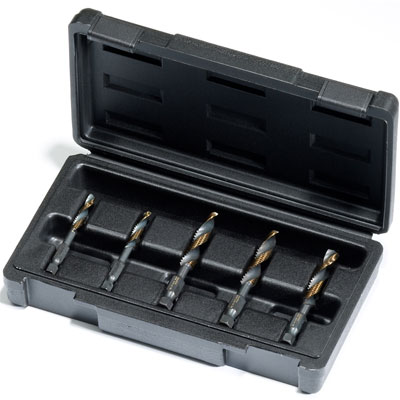 Champion DT22HEX-SET-NC5 5 Piece Drill-Tap Set for 1/4 - 1/2 NC Sizes DT22HEX-SET-NC5