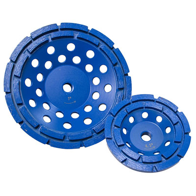 Diamond Products CGBD4000-D5B 4in. x 5/8in. Star Blue Double Row Diamond Cup Grinder Wheel for Concrete DIA-70360