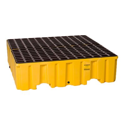 Eagle Mfg 1640 4 Drum Containment Pallet - Yellow with Drain  EAG-1640