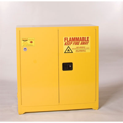 Eagle Mfg 1932 Flammable Liquid Safety Cabinet, 30 Gal., 1 Shelf, 2 Door, Manual Close, Yellow EAG-1932