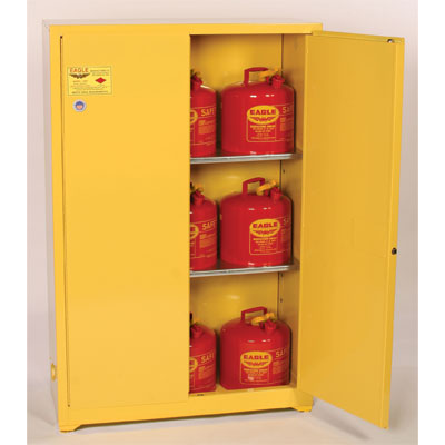 Eagle Mfg 1947 Flammable Liquid Safety Cabinet, 45 Gal., 2 Shelves, 2 Door, Manual Close, Yellow EAG-1947