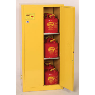 Eagle Mfg 1962 Flammable Liquid Safety Cabinet, 60 Gal. 2 Shelves, 2 Door, Manual Close, Yellow EAG-1962