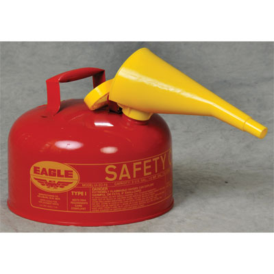 Eagle Mfg UI20FS Type I Safety Can, 2 Gal. Red with F15 Funnel EAG-U1 20FS