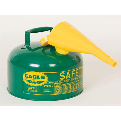 Eagle Mfg UI20FSG Type I Safety Can, 2 Gal. Green with F15 Funnel EAG-UI20FSG