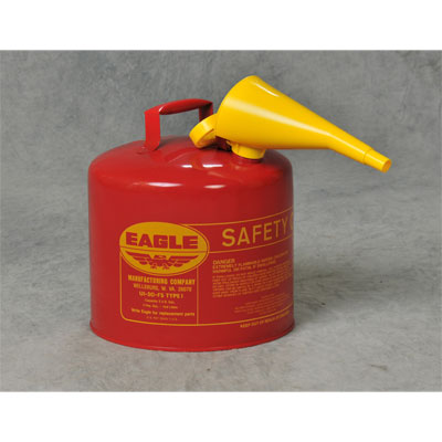 Eagle Mfg UI50FS Type I Safety Can, 5 Gal. Red with F-15 Funnel EAG-U1 50FS