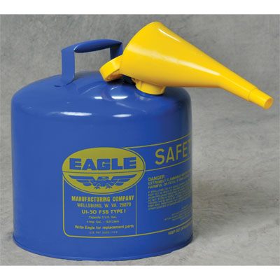 Eagle Mfg UI50FSB Type I Safety Can, 5 Gal. Blue with F15 Funnel EAG-U1 50FSB