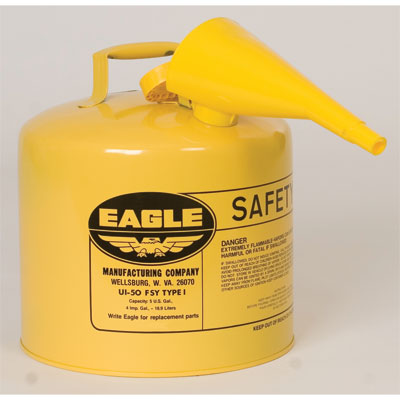 Eagle Mfg UI50FSY Type I Safety Can, 5 Gal. Yellow with F15 Funnel EAG-U1 50FSY