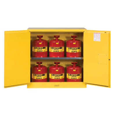 Justrite - Cabinet, FLAM W/CANS 30Gal MN YL 8930008