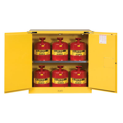 Justrite - Cabinet, FLAM W/CANS 30Gal SC YL 8930208
