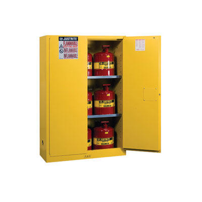 Justrite - Cabinet, FLAM W/CANS 45Gal MN YL 8945008