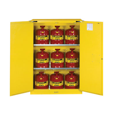 Justrite - Cabinet, FLAM W/CANS 45Gal SC YL 8945208