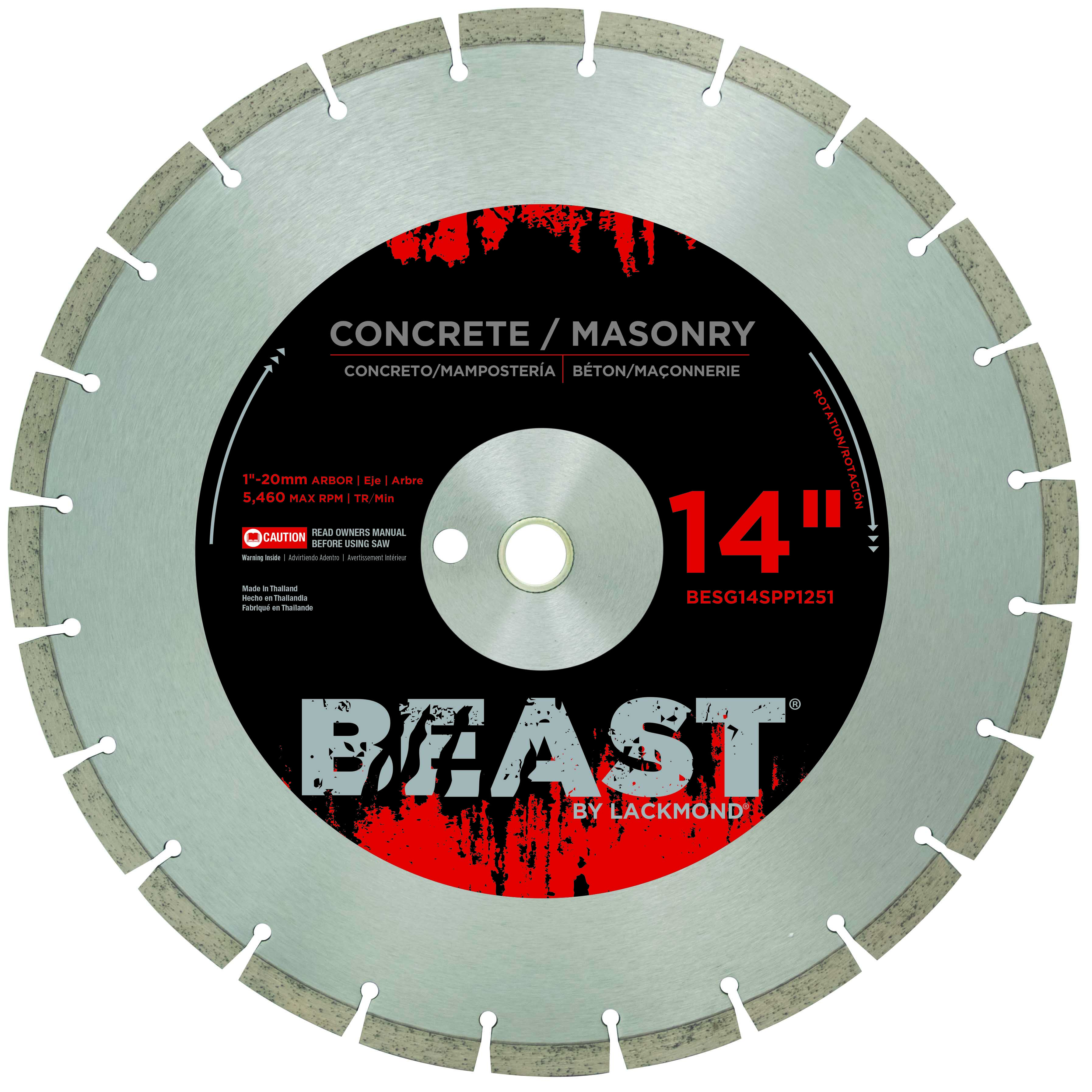 Lackmond BESG14SPP1251 Beast 14in. x .125 x 1in. - 20mm SPP Series Diamond Blade for Concrete LAC-14BESG