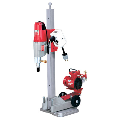 4115-22 Milwaukee Electric Tools Diamond Coring Rig with Small Base Stand, Vac-U-Rig Kit, Meter Box and Diamond Coring Motor 4115-22