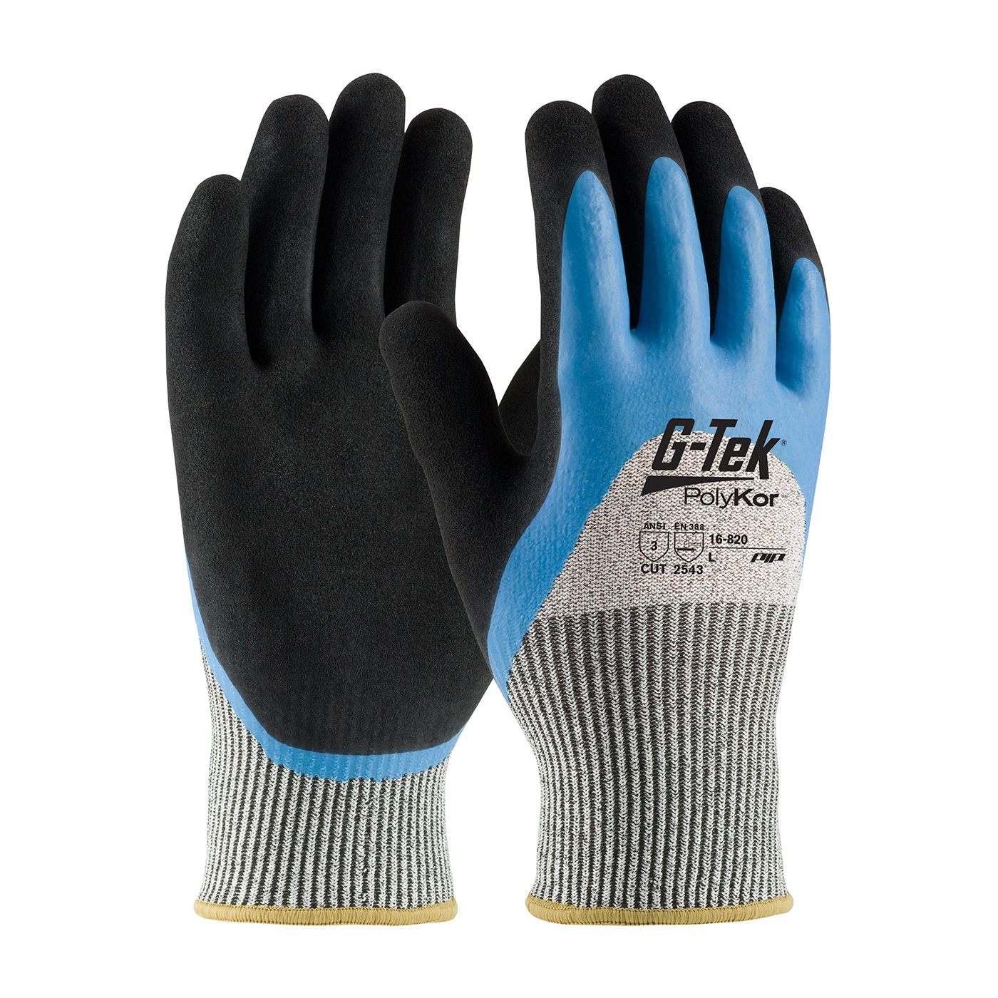 PIP 16-820/L G-Tek PolyKor Seamless Knit PolyKor Blended Glove with Acrylic Lining and Double-Dipped Latex Coated MicroSurface Grip on Palm, Fingers & Knuckles - Large PID-16 820 L