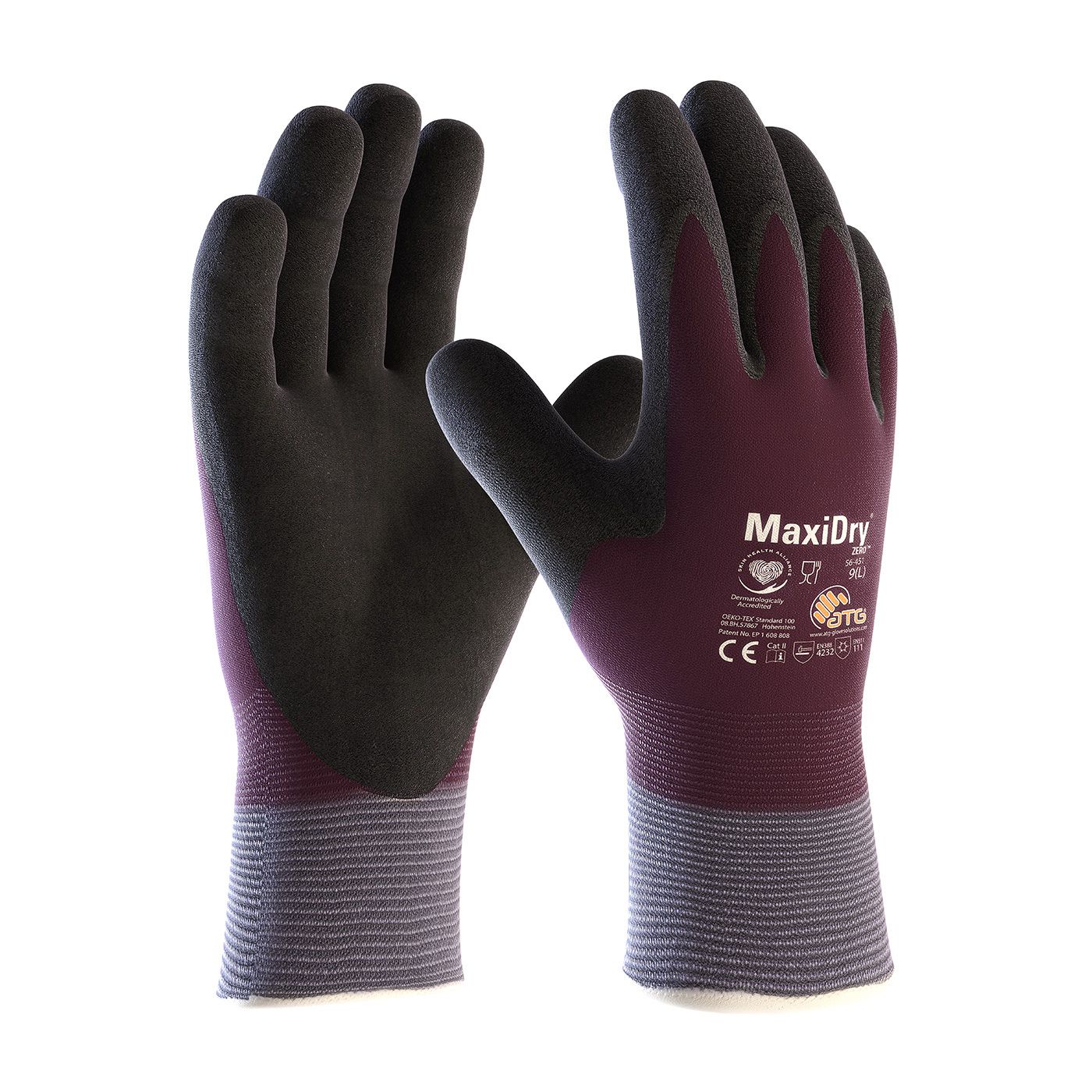 PIP 56-451/L MaxiDry Zero Seamless Knit Nylon/Lycra Glove with Thermal Lining and Double-Dipped Nitrile Coated MicroFoam Grip on Full Hand - Large PID-56451L