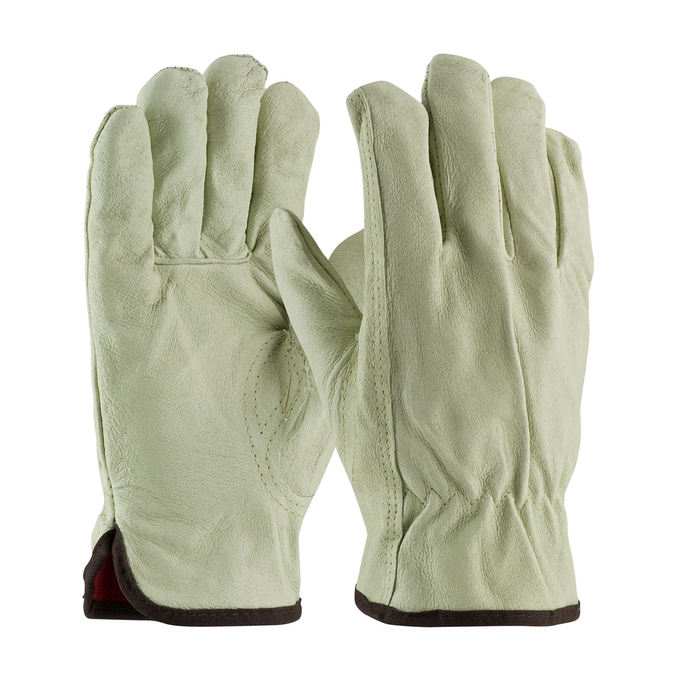 PIP 77-468/L Top Grain Pigskin Leather Glove with Red Thermal Lining - Keystone Thumb - Large PID-77 468 L