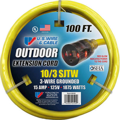 10 3 Outdoor Extension Cord Sjtw 300v 15a 1875w