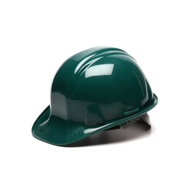 Pyramex HP14035 Hard Hat - Green 4 Pt - Snap Lock Suspension (Box of 16) HP14035
