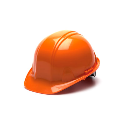 Pyramex HP14040 Hard Hat - Orange 4 Pt - Snap Lock Suspension (Box of 16) HP14040