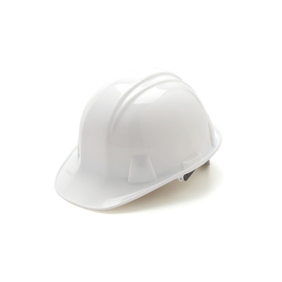 Pyramex HP14110 Hard Hat - White 4 Pt Ratchet Suspension (Box of 16) HP14110