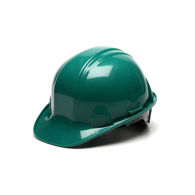 Pyramex HP14135 Hard Hat - Green 4 Pt Ratchet Suspension (Box of 16) HP14135