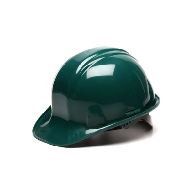 Pyramex HP16035 Hard Hat - Green 6 Pt- Snap Lock Suspension (Box of 16) HP16035
