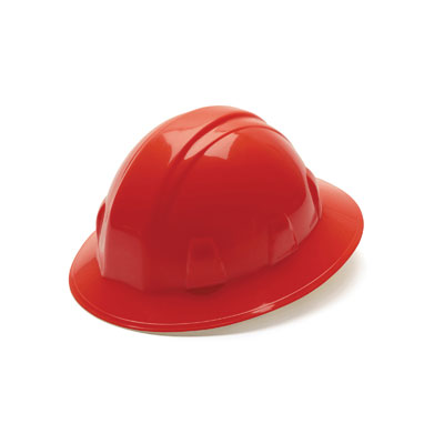 Pyramex HP24120 Full Brim Hard Hat - Red 4 Pt Ratchet Suspension (Box of 12) HP24120