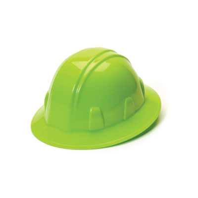 Pyramex HP24131 Full Brim Hard Hat - Hi Vis Green 4 Pt Ratchet Suspension (Box of 12) HP24131
