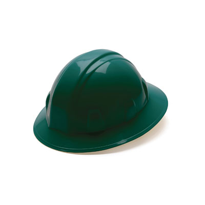 Pyramex HP24135 Full Brim Hard Hat - Green 4 Pt Ratchet Suspension (Box of 12) HP24135