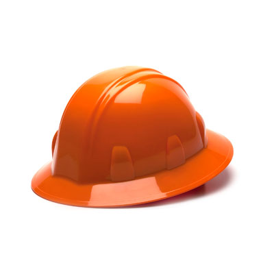 Pyramex HP24140 Full Brim Hard Hat - Orange 4 Pt Ratchet Suspension (Box of 12) HP24140