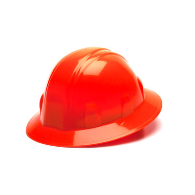 Pyramex HP24141 Full Brim Hard Hat - Hi Vis Orange 4 Pt Ratchet Suspension (Box of 12) HP24141