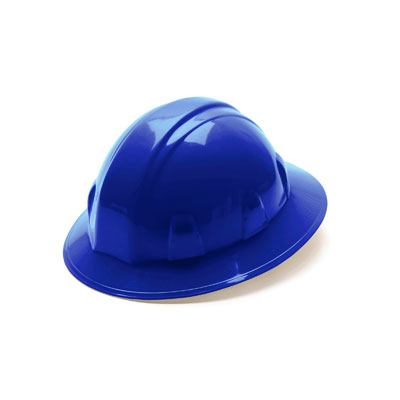 Pyramex HP24160 Full Brim Hard Hat - Blue 4 Pt Ratchet Suspension (Box of 12) HP24160