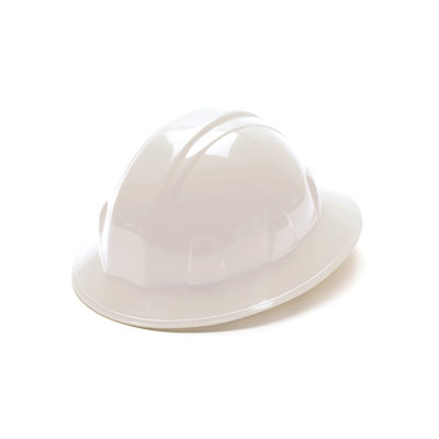 Pyramex HP26110 Full Brim Hard Hat - White 6 Pt Ratchet Suspension (Box of 12) HP26110