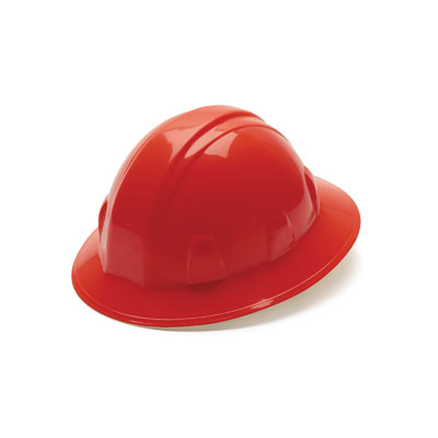 Pyramex HP26120 Full Brim Hard Hat - Red 6 Pt Ratchet Suspension (Box of 12) HP26120