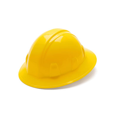 Pyramex HP26130 Full Brim Hard Hat - Yellow 6 Pt Ratchet Suspension (Box of 12) HP26130