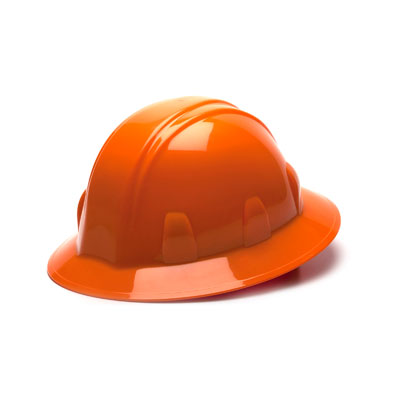 Pyramex HP26140 Full Brim Hard Hat - Orange 6 Pt Ratchet Suspension (Box of 12) HP26140