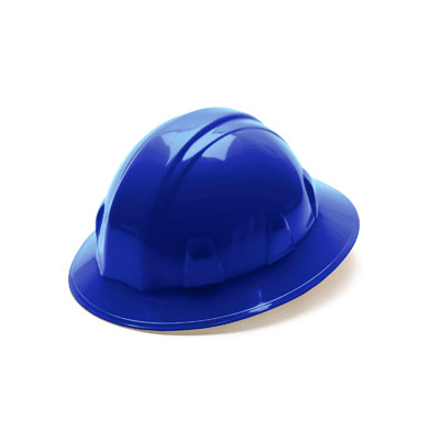 Pyramex HP26160 Full Brim Hard Hat - Blue 6 Pt Ratchet Suspension (Box of 12) HP26160