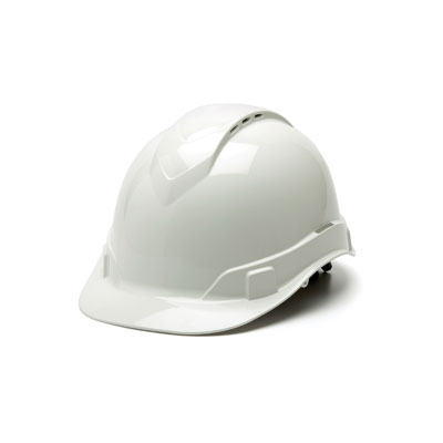 Pyramex HP44110V Hard Hat - White Vented 4 Pt Ratchet Suspension (Box of 16) HP44110V