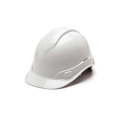 Pyramex HP44110 Hard Hat - White 4 Pt Ratchet Suspension (Box of 16) HP44110