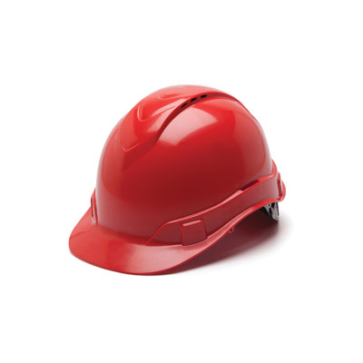 Pyramex HP44120V Hard Hat - Red Vented 4 Pt Ratchet Suspension (Box of 16) HP44120V