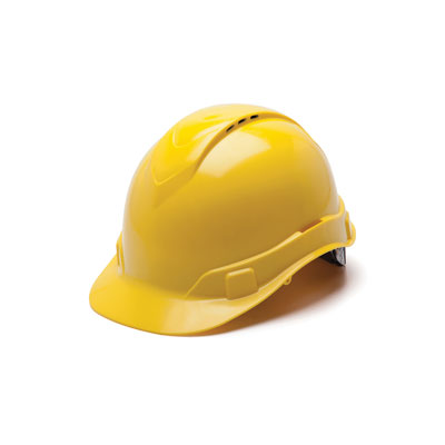 Pyramex HP44130V Hard Hat - Yellow Vented 4 Pt Ratchet Suspension (Box of 16) HP44130V