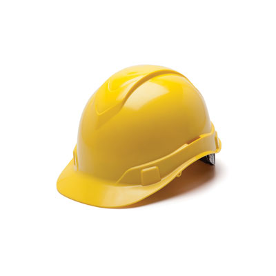 Pyramex HP44130 Hard Hat - Yellow 4 Pt Ratchet Suspension (Box of 16) HP44130