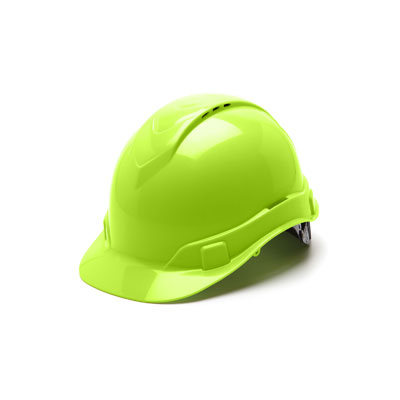 Pyramex HP44131V Hard Hat - Hi Vis Green Vented 4 Pt Ratchet Suspension (Box of 16) HP44131V