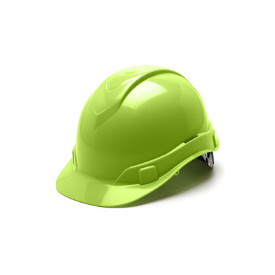 Pyramex HP44131 Hard Hat - Hi Vis Green 4 Pt Ratchet Suspension (Box of 16) HP44131