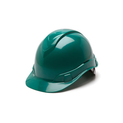 Pyramex HP44135 Hard Hat - Green 4 Pt Ratchet Suspension (Box of 16) HP44135