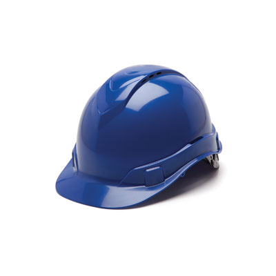 Pyramex HP44160V Hard Hat - Blue Vented 4 Pt Ratchet Suspension (Box of 16) HP44160V