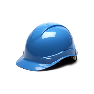 Pyramex HP44162 Hard Hat - Light Blue 4 Pt Ratchet Suspension (Box of 16) HP44162